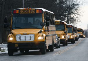 school buses in line